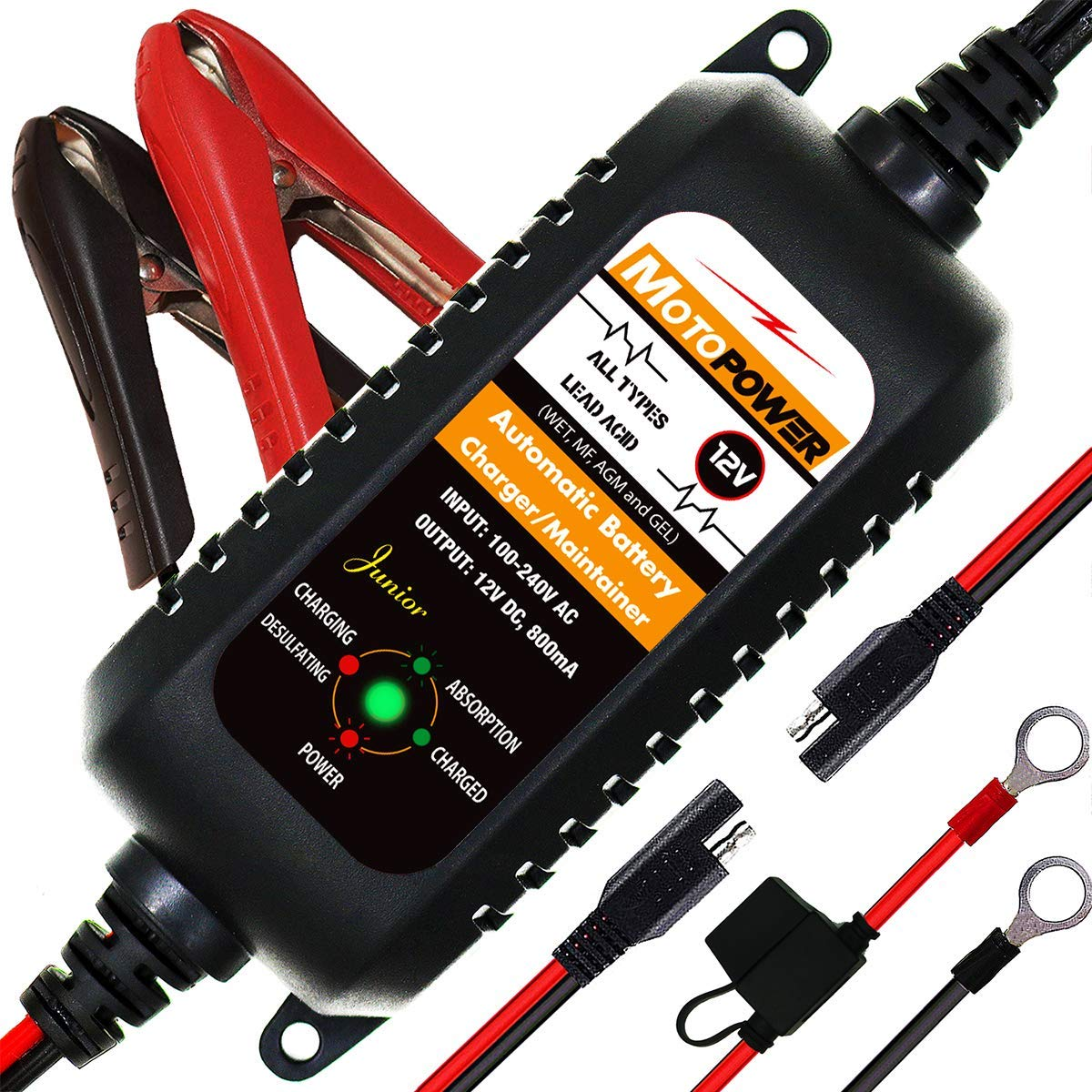 MOTOPOWER MP00205A 12V 800mA Entièrement Chargeur de Batterie