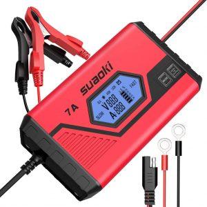 SUAOKI 7A 12V Chargeur de Batterie Intelligent Haut de Gamme Charger Vite Diagnostiquer Problème de Batterie, Forte Compatibilité et Protection